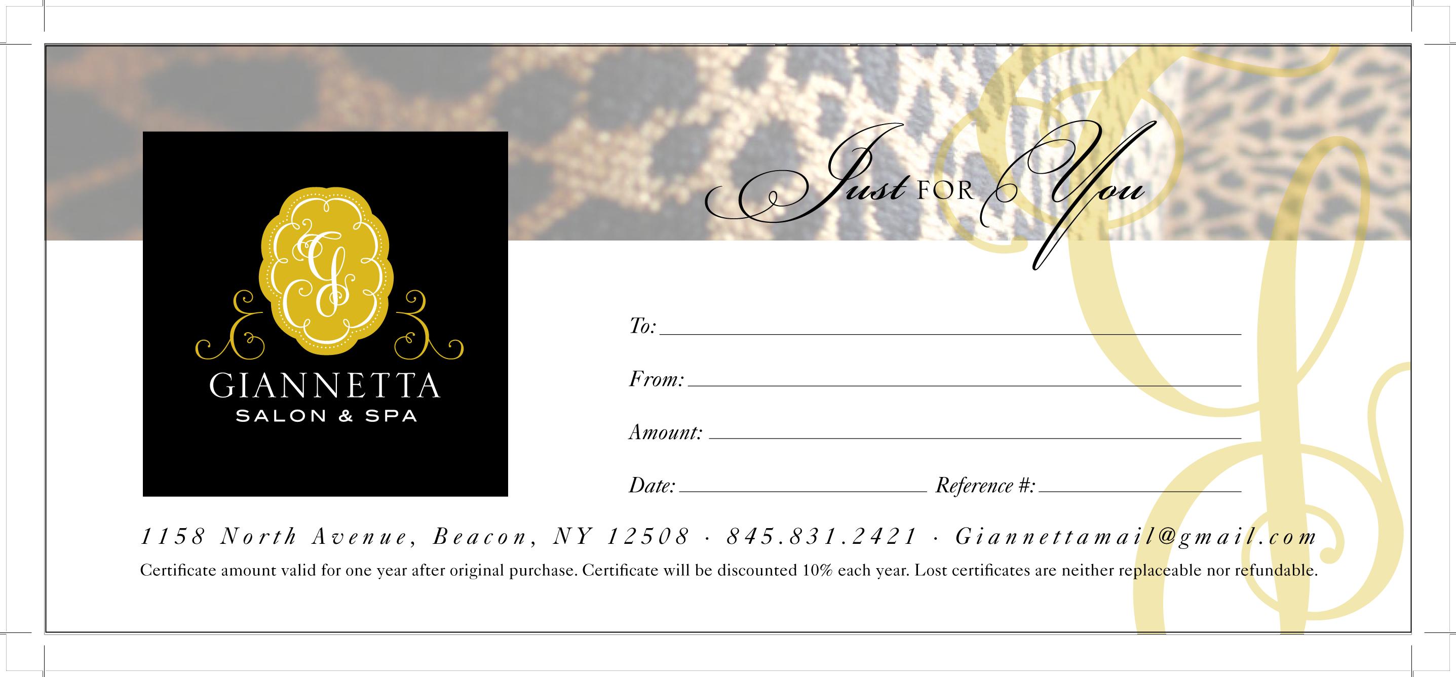 Gift Certificates Giannetta Salon Amp Spa